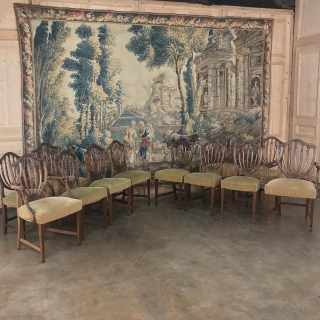 Neoclassical Set of 12 Antique English Sheraton Dining Chairs Includes Four Armchairs For Sale - Image 3 of 13