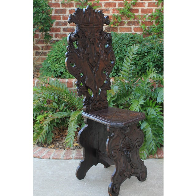 Mid 19th Century Antique Italian Carved Walnut Sgabello Chair For Sale - Image 10 of 13