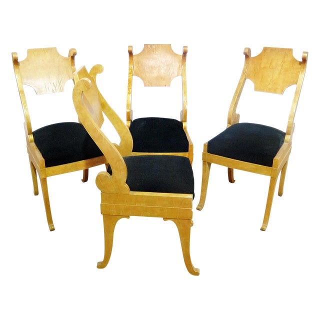 Set of 4 Biedermeier Style Side Chairs For Sale
