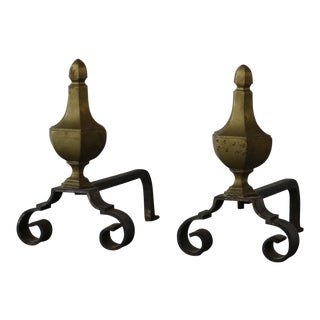 Spanish Brass Andirons - a Pair For Sale