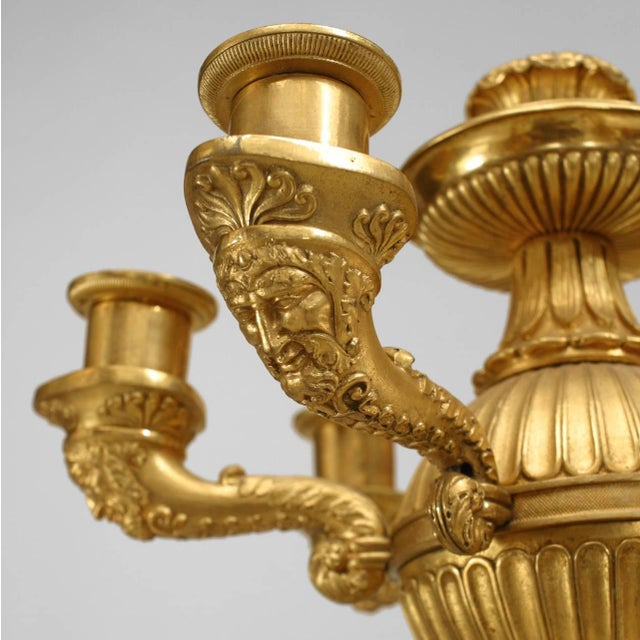 Important Pair of French Empire Bronze Dore Six-Arm Candelabra For Sale In New York - Image 6 of 9