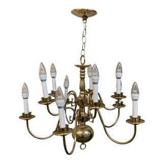 Ten Light Two Tiered Polished Brass Chandelier For Sale