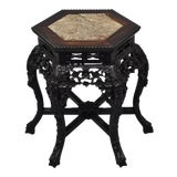 Image of 1900s Antique Carved Hardwood Marble Top Oriental Plant Stand Pedestal Side Table For Sale
