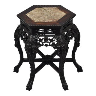 1900s Antique Carved Hardwood Marble Top Oriental Plant Stand Pedestal Side Table For Sale