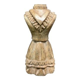 1920s Paper Mache Mold Carved Solid Wood Dress Form Sculpture (Takaan) For Sale