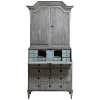18th Century Gustavian Painted Two-Part Secretaire Desk For Sale