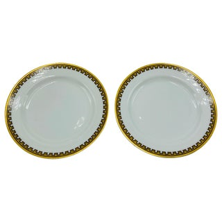 1950s Haviland Limoges 'Schleiger 962' Greek Key China Dessert Plates, Set of 2 For Sale