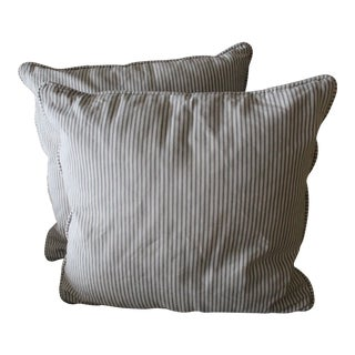 Custom Mitchell Gold Striped Denim Pillows - A Pair For Sale
