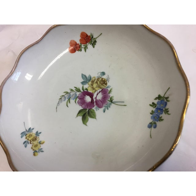 Traditional Gold Rim Porcelain Floral Dish For Sale - Image 3 of 7