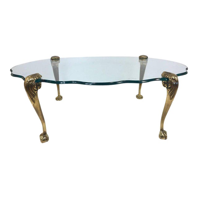 Exceptional Brass Claw And Ball Glass Top Coffee Table