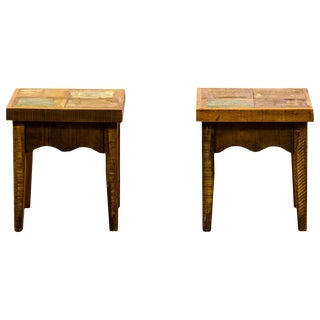 Reclaimed Wood Stools - a Pair For Sale