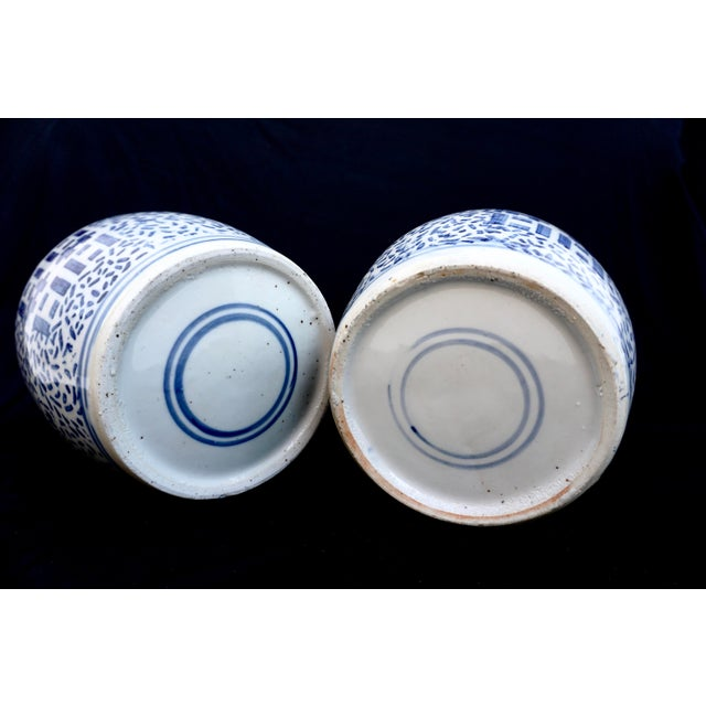 Antique Kangxi Period Chinese Blue & White Porcelain Ginger Jars- a Pair || Double Ring Marked For Sale - Image 10 of 11
