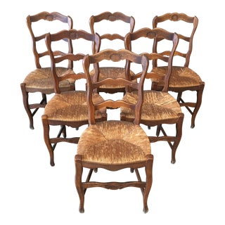 Antique French Country Dining Chairs- Set of 6 For Sale