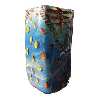 Contemporary Studio Glass Vase by Kenny Walton, Blue Tones For Sale