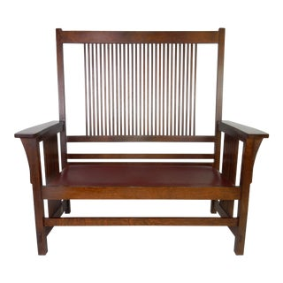 Stickley Mission Spindle Back Settee With Leather Seat and a Custom Cushion For Sale