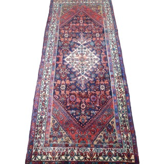 Hand Knotted Persian Mahal Runner - 3′10″ × 10′4″ For Sale