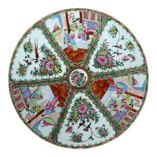 Large Antique Chinese Qing Rose Medallion Porcelain Charger or Platter Traditional Design For Sale