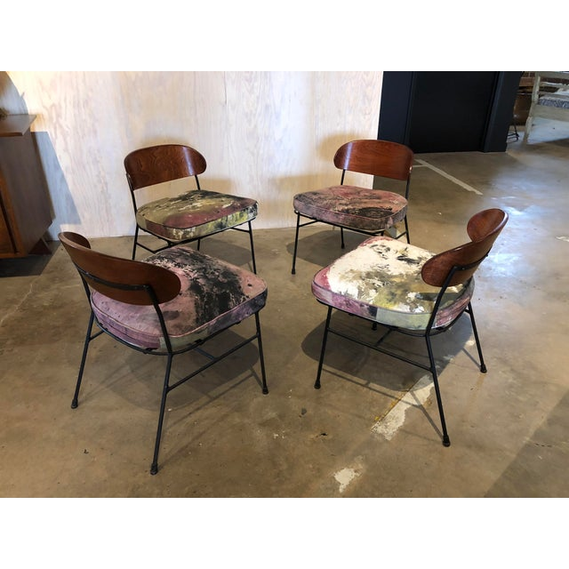 1950s Paul Laszlo for Pacific Iron Walnut and Iron Chairs For Sale - Image 5 of 9