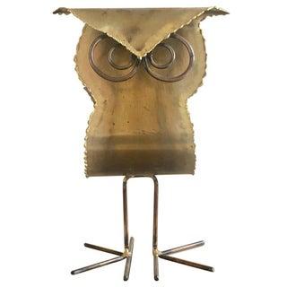 Brutalist Brass Owl Sculpture For Sale