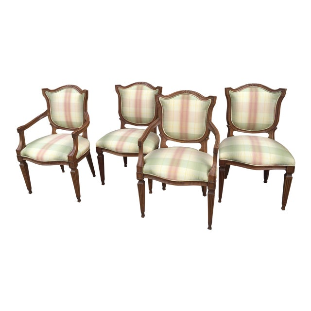 Carved Neoclassic Dining Chairs with Silk Upholstery set of 4 For Sale