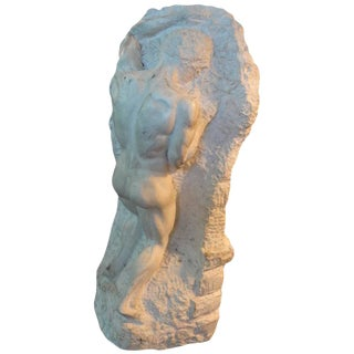 1920's Italian Carved Marble Male Torso Sculpture For Sale