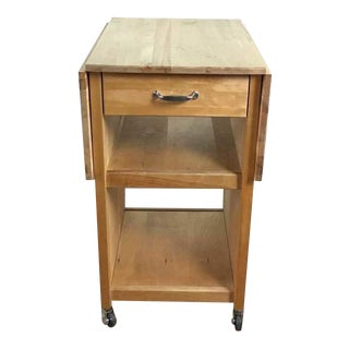 Contemporary Carved Oak Drop Leaf Kitchen Island
