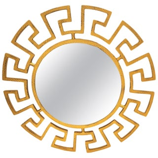 Neoclassic Revival Mid-Century Modern Gold Greek Key Mirror For Sale