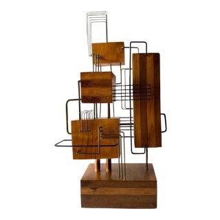 Constructivist Laminated Wood Copper Wire Handmade Studio Sculpture For Sale