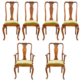 Early 20th Century Vintage Queen Anne Style Chairs- Set of 6 For Sale