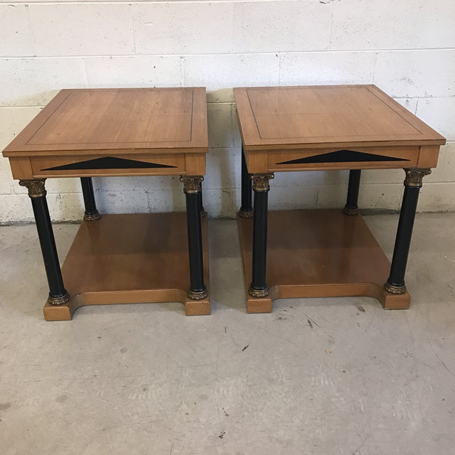 """Great pair of neoclassical end tables that are Greek in style with very """"Parthenon"""" like features and Roman columns. These..."""