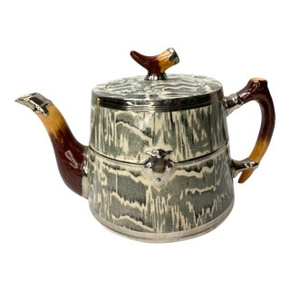 1930's Arthur Wood Silver Shield Faux Bois Antler Teapot For Sale