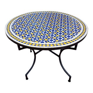 Moroccan Multi-Color Wrought Iron Base Mosaic Table