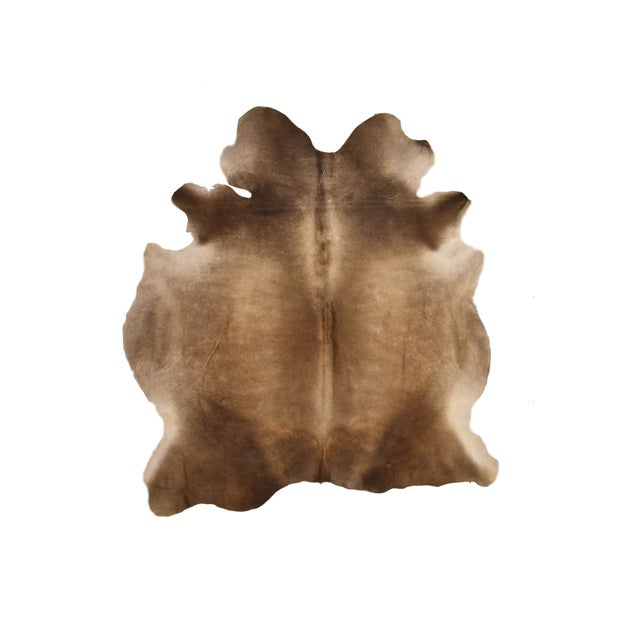"Premium Aydin Cowhide Rug, Handmade in Europe, Gray, 6'7"" X 6'7"" For Sale In Chicago - Image 6 of 6"