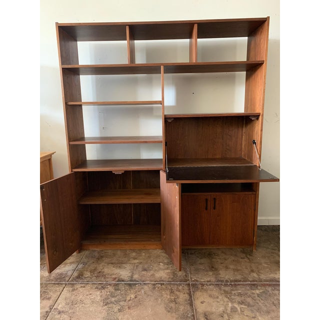 Mid-Century Walnut Shelving Unit with Desk For Sale In Los Angeles - Image 6 of 9