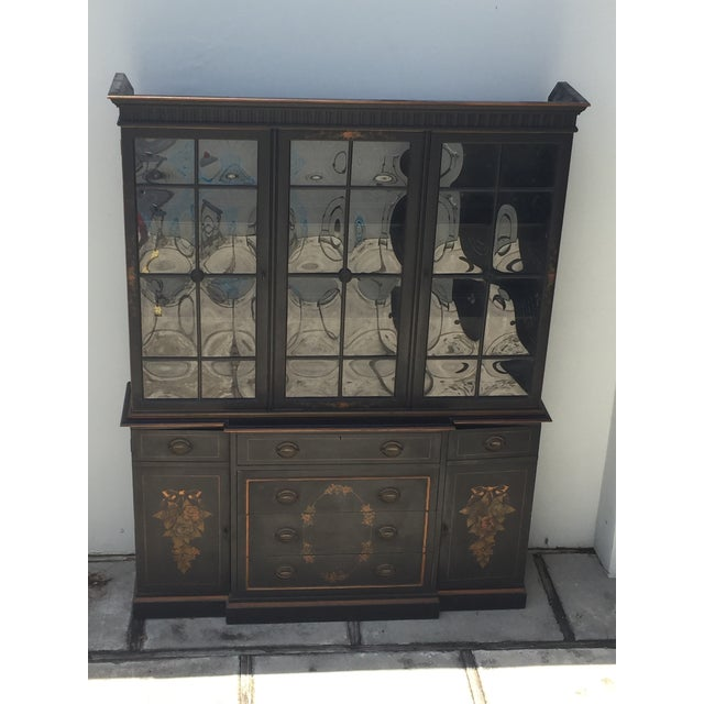 Traditional Bubble Glass Hitchcock Style Breakfront/ Bookcase For Sale - Image 3 of 10