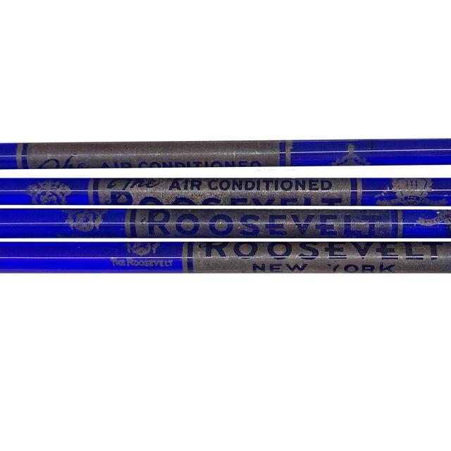 1920s Cobalt Blue Glass Roosevelt Hotel New York Swizzle Cocktail Sticks - Set of 8 For Sale - Image 5 of 7