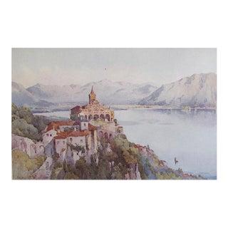 1905 Original Italian Print - Italian Travel Colour Plate - La Madonna Del Sasso, Locarno, Lago Maggiore For Sale
