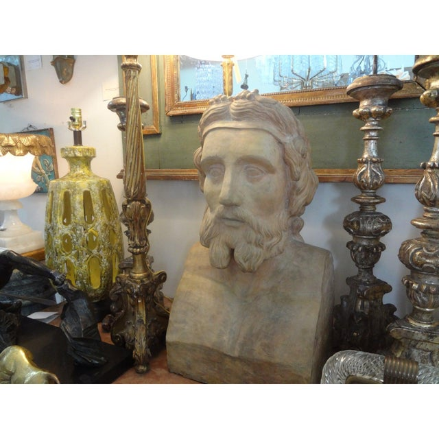 19th Century Monumental French Terra Cotta Bust of a Classical Greek For Sale In Houston - Image 6 of 11