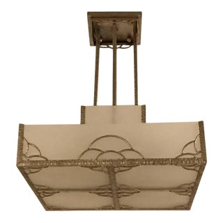 French Art Deco Industrial Nickeled Iron and Glass Chandelier For Sale