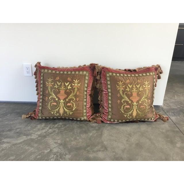 Embroidery Appliqué Silk Velvet Pillows - a Pair For Sale - Image 9 of 9