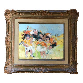 "George Rene Sinicki ""Soccer Match"" Original Oil on Canvas C.1950s For Sale"