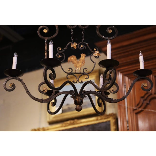 Early 20th Century French Six-Light Iron Chandelier With Center Rooster For Sale - Image 11 of 13