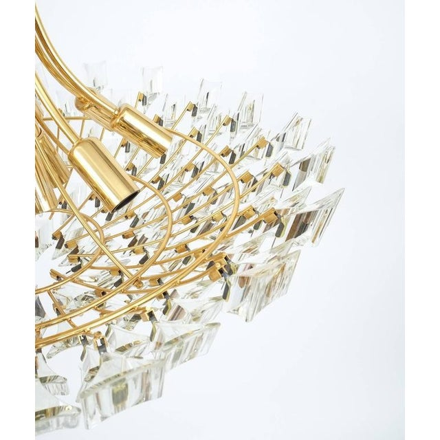 Gold Large Glass and Brass Chandelier by Stilkrone Italy , circa 1970 For Sale - Image 8 of 9