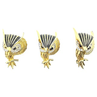 Three Jomaz Jeweled Owl Brooches, Set of 3 For Sale