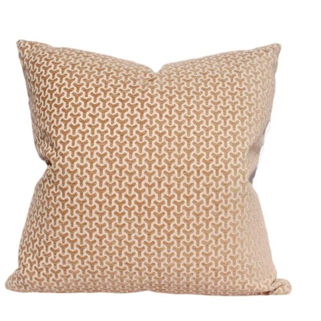 Modern Geometric Neutral Velvet Pillow - Image 1 of 2