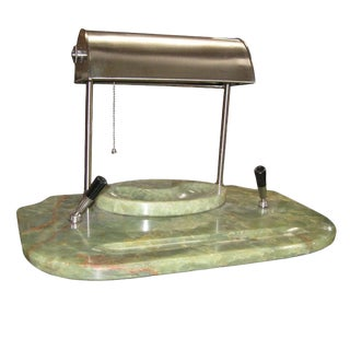 Art Deco Onyx and Brushed Nickel Desk Set For Sale