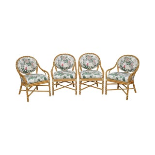 McGuire of San Francisco Set of 4 Twisted Rattan Dining Chairs