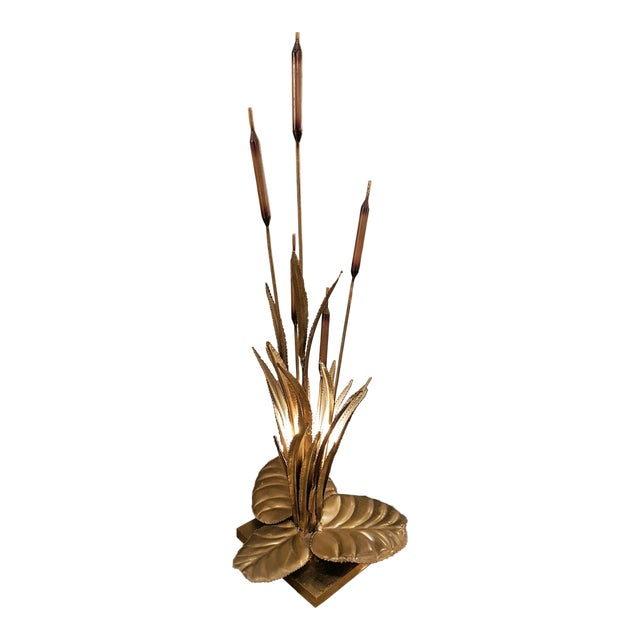 Large Brass Mid Century Modern Rush Leaf Table Lamp by Maison Jansen, France For Sale