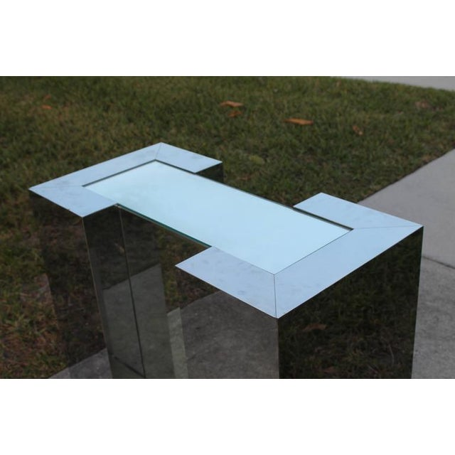 Milo Baughman Milo Baughman Style Mirrored Chrome Dining Table Base For Sale - Image 4 of 12