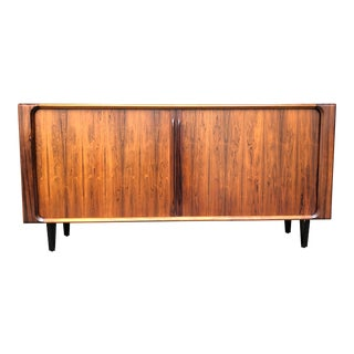 Mid Century Danish Modern Rosewood Tambour Door Credenza Sideboard by Bernhard Pedersen With Custom Black Metal Legs For Sale